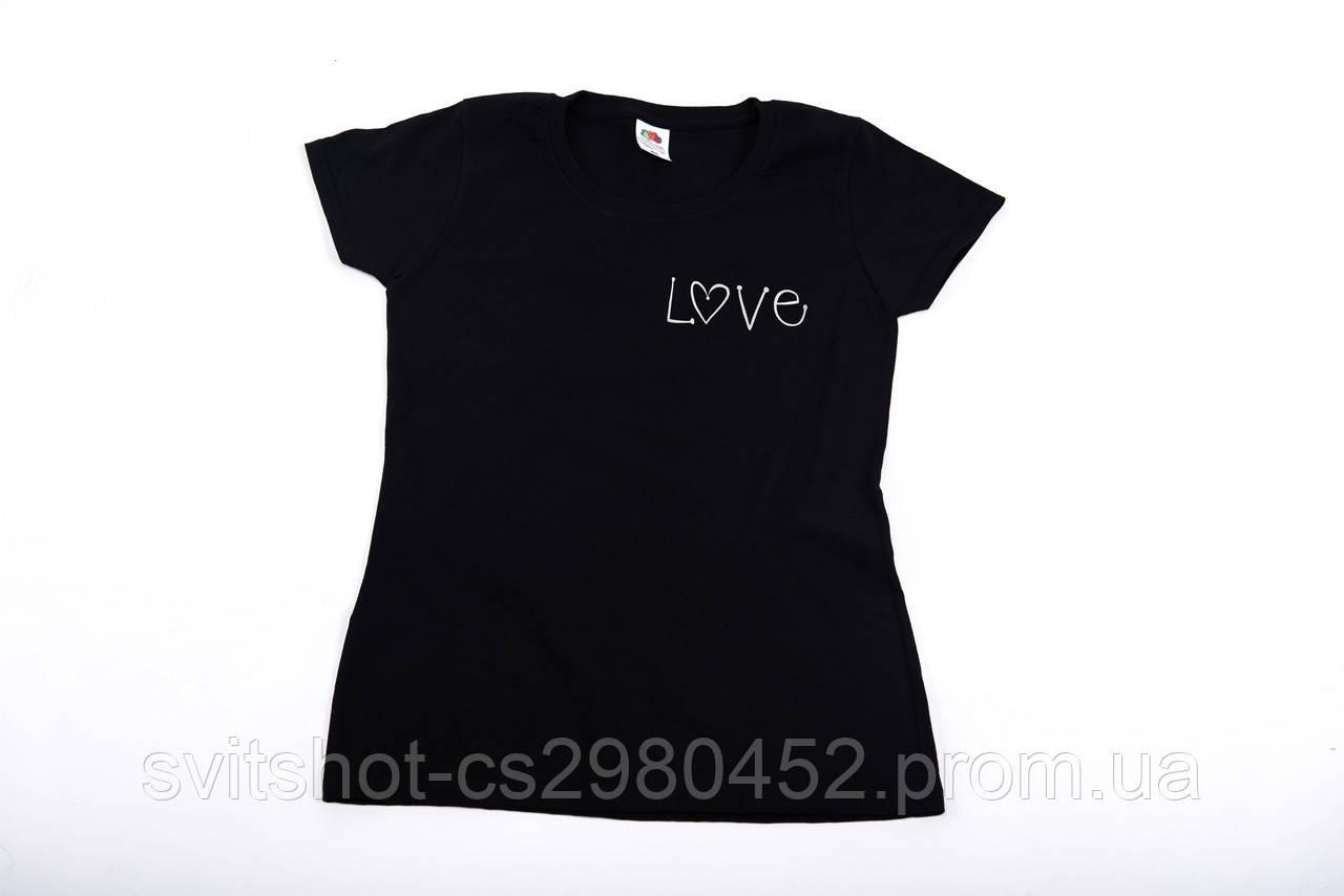 Футболка printOFF Love черная L 001591