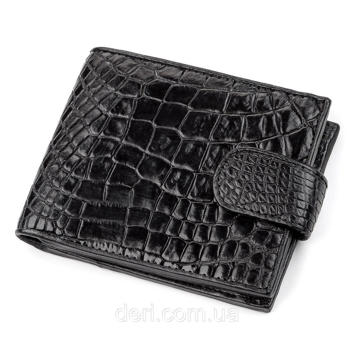 Кошелек CROCODILE LEATHER  из натуральной кожи крокодила Черный, Черный