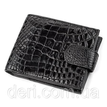Кошелек CROCODILE LEATHER  из натуральной кожи крокодила Черный, Черный, фото 2