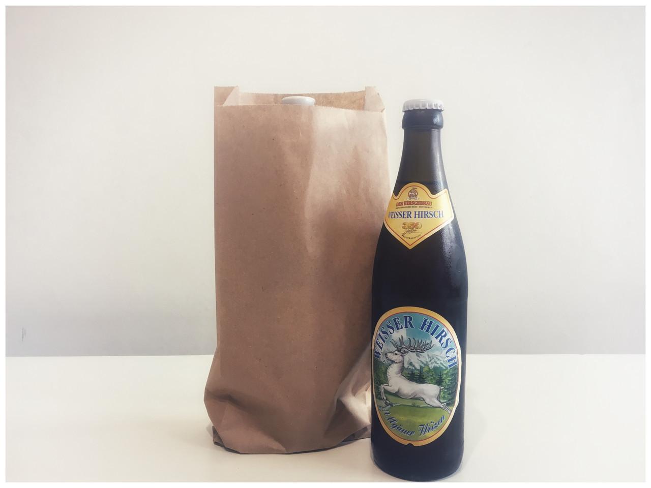 Бумажный пакет под бутылки 140мм*50мм*320мм бурый