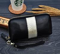 Кошелек клатч женский кожаный  (черный с золотистым)