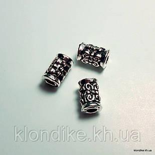 Бусины Трубочка, Металл, d - 4 мм, длина - 6.5 мм, Цвет - Платина (10 шт.)