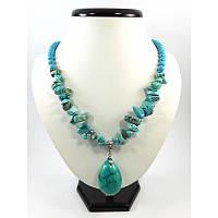 Эксклюзивное ожерелье Бирюза прессованная Изысканное ожерелье из натурального камня, красивые украшения