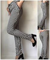 Летние женские брюки штаны молодежные Султанки А17 крупная черная полоска