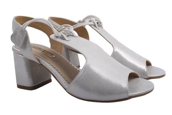 Босоножки женские на каблуке Foletti натуральный сатин, цвет серебро