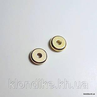 Бусины Шайба, Металл, d - 6 мм, высота - 1.5 мм, Цвет - Золото (20 шт.)