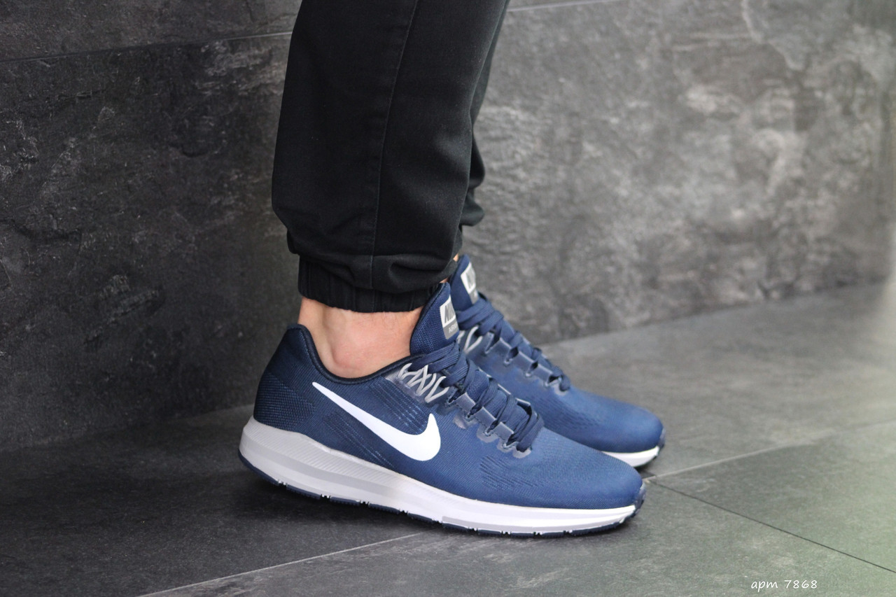 Кроссовки найк мужские темно-синие демисезонные повседневные (реплика) Nike Air Zoom Structure 21 Dark Blue