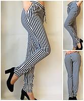 Летние женские брюки штаны молодежные Султанки А17 крупная синяч полоска