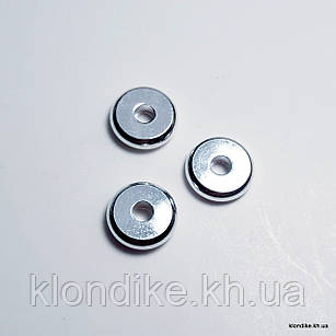 Бусины Шайба, Металл, d - 6 мм, высота - 1.5 мм, Цвет - Серебро (10 шт.)