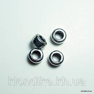Бусины Бочонок, d - 5 мм, высота - 3 мм, Цвет - Платина (10 шт.)