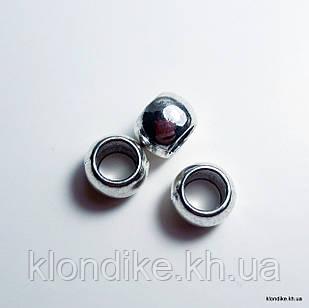 Бусины Бочонок, d - 6 мм, высота - 4 мм, Цвет - Платина (10 шт.)