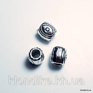 Бусины Бочонок, d - 5 мм, длина - 6 мм, Цвет - Платина (10 шт.)