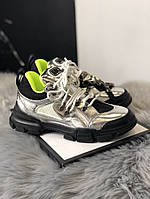 Женские кроссовки Gucci Flashtrek Silver Black Green, Реплика, фото 1