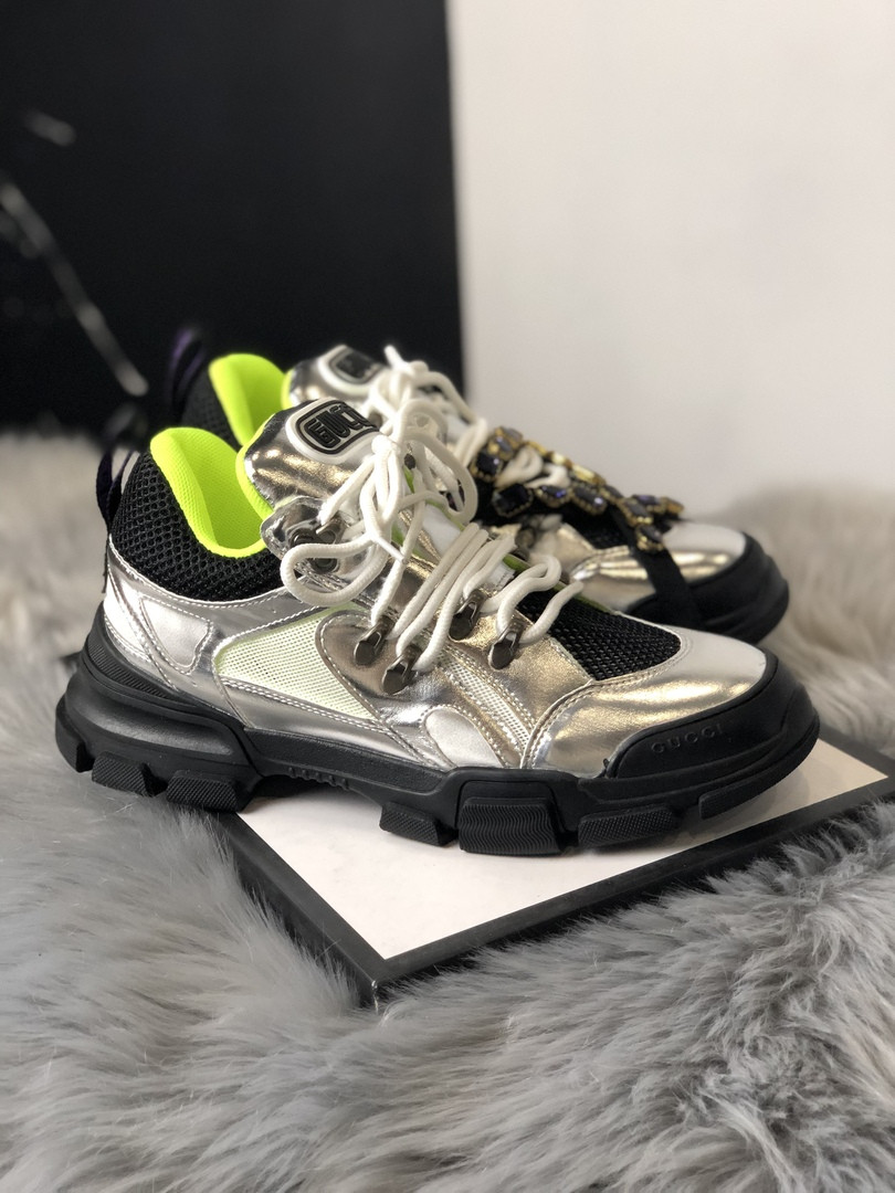 Женские кроссовки Gucci Flashtrek Silver Black Green, Реплика