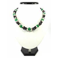 Эксклюзивное ожерелье Хризопраз + нефрит, Изысканное ожерелье из натурального камня, красивые украшения