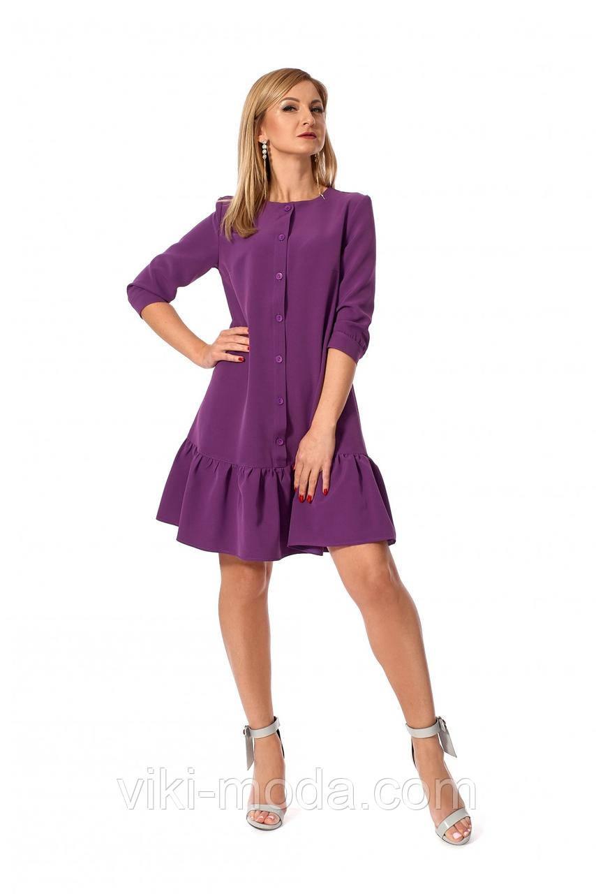 Короткое фиолетовое платье свободного силуэта