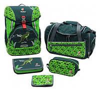 Рюкзак Deuter OneTwoSet - Sneaker Bag  с набором школьных принадлежностей (Зеленый с динозавром forest dino)