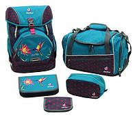 Рюкзак Deuter OneTwoSet - Sneaker Bag  с набором школьных принадлежностей (Синий с птицей petrol bird)