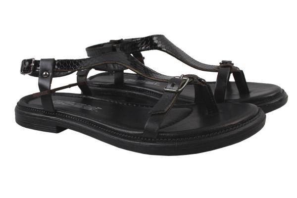 Босоножки , сандали женские на плоской подошве Gossi Турция натуральная кожа, цвет черный