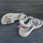 Открытые серебряные босоножки на липучках от Том. М девочкам, р. 34, стелька 21,8 см, фото 5