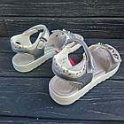 Открытые серебряные босоножки на липучках от Том. М девочкам, р. 34, стелька 21,8 см, фото 6