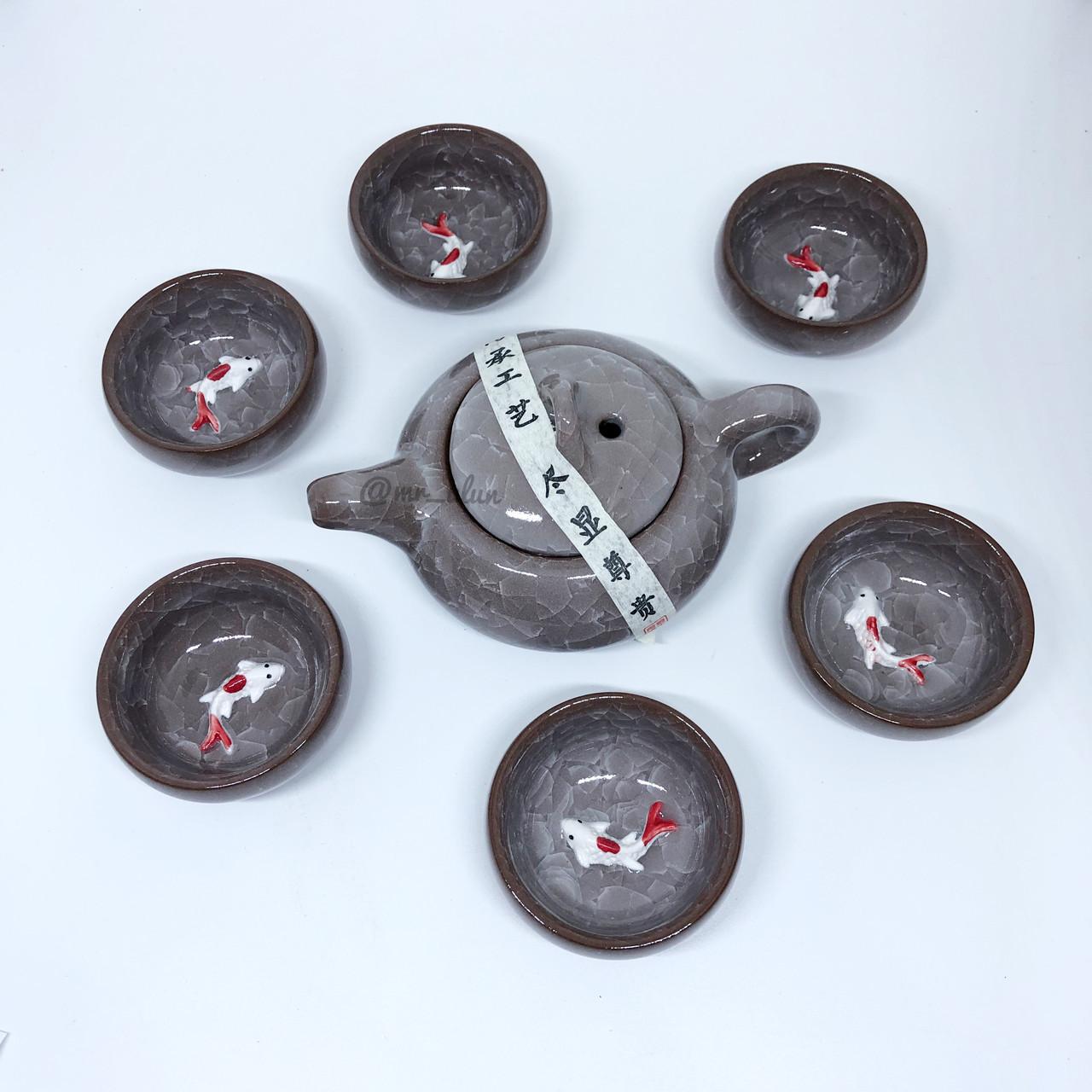Набор посуды с рыбкой глиняный для чайной церемонии