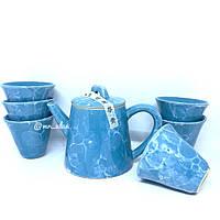 Набор посуды глиняный для чайной церемонии голубой мрамор