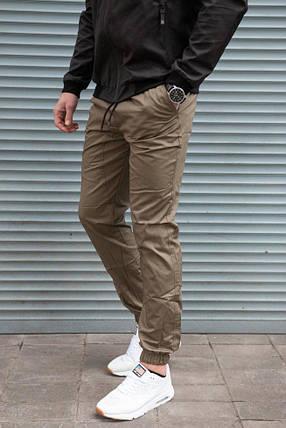 Джоггеры мужские бежевые на манжетах, из хлопка, фото 2
