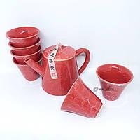 Набор посуды глиняный для чайной церемонии алый мрамор