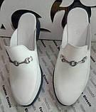 Мюли .! Сабо на низком ходу с закрытым носком Шлепанцы цвет белый, фото 5