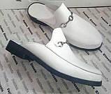 Мюли .! Сабо на низком ходу с закрытым носком Шлепанцы цвет белый, фото 4