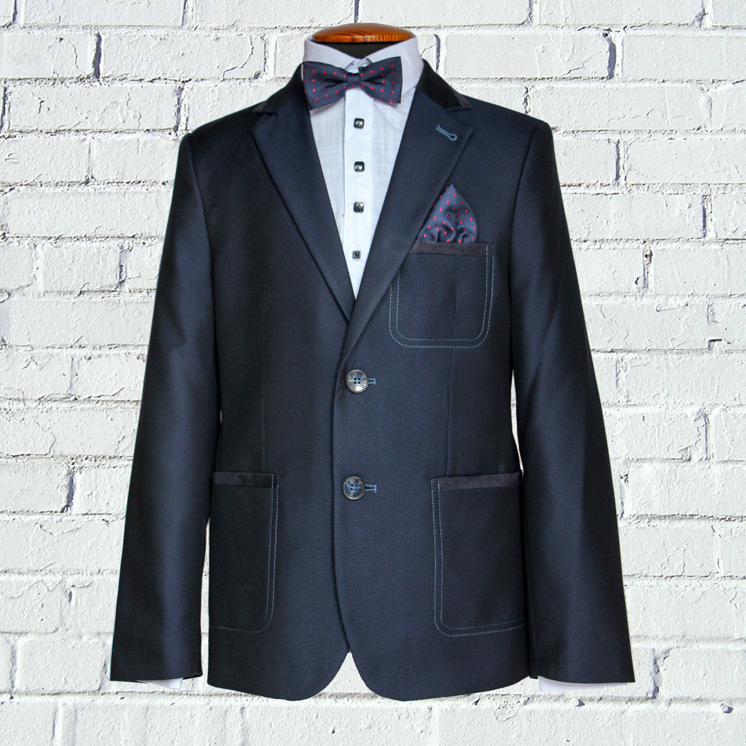 """Шкільний синій костюм для хлопчика 122-176 зросту """"Монако"""" з налокотниками"""