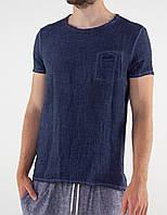Мужская темно-синяя льняная футболка