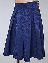 Жаккардовая детская юбка синего цвета (146 рост)