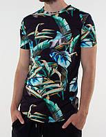 Мужская черная футболка c пальмами