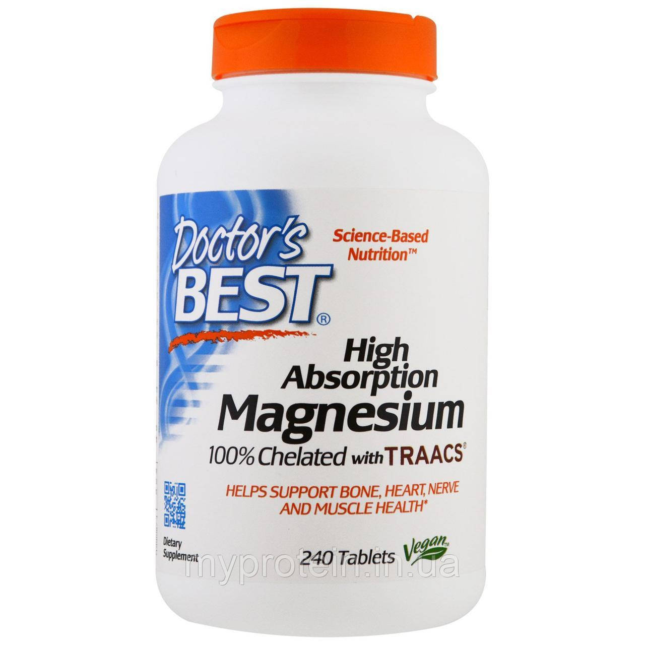 Doctor's BEST Магний повышенной усвояемости, 100% хелат в форме Magnesium High Absorption 240 tabs