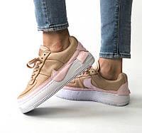 4ae67981 Nike Air Force 1 Jester XX Beige Pink | кроссовки женские; бежевые-розовые;  осенние/весенние; платформа 5.5us - 36eur - 22.5cm