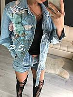 2097b0cc5c9 Джинсовая куртка женская с цветной апликацией