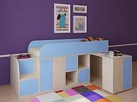 """Кровать чердак """" Геометрия"""" Молочный дуб + Голубой"""