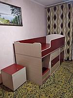 """Детская кровать чердак """"Школьник""""  молочный дуб + бордо с ящиком для игрушек"""