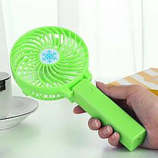 Портативный ручной или настольный мини вентилятор с USB зарядкой Mini Fan зеленый