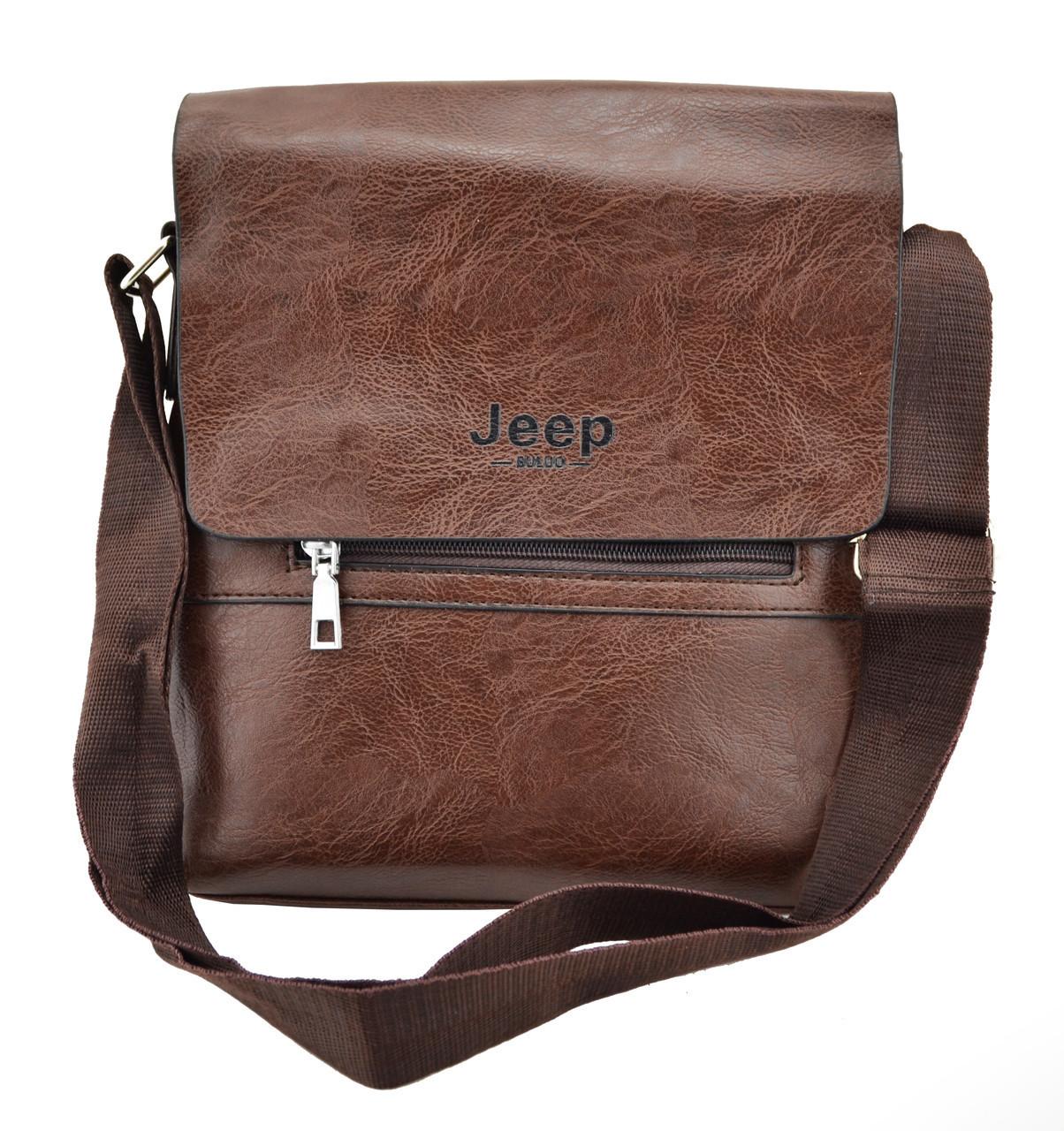 Мужская сумка из эко-кожи JEEP 866 BAGS   сумка через плечо Джип коричневая