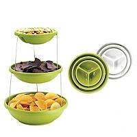 Миска трехуровневая для вечеринок Twist Fold 3 Tiered Bowl | миска для снеков, фото 1