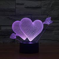 Настольный электрический светильник с 3D эффектом | 3D ночник с объемным оптическим эффектом, фото 1