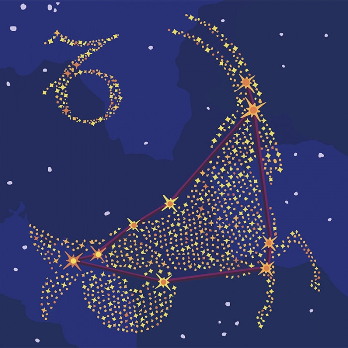 """Картина по номерам. Звездный знак """"Козерог"""" с краской металлик 50*50см KH9510"""