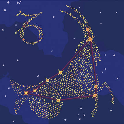 """Картина по номерам. Звездный знак """"Козерог"""" с краской металлик 50*50см KH9510, фото 2"""