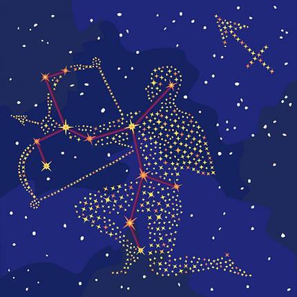 """Картина по номерам. Звездный знак """"Стрелец"""" с краской металлик 50*50см KH9511, фото 2"""