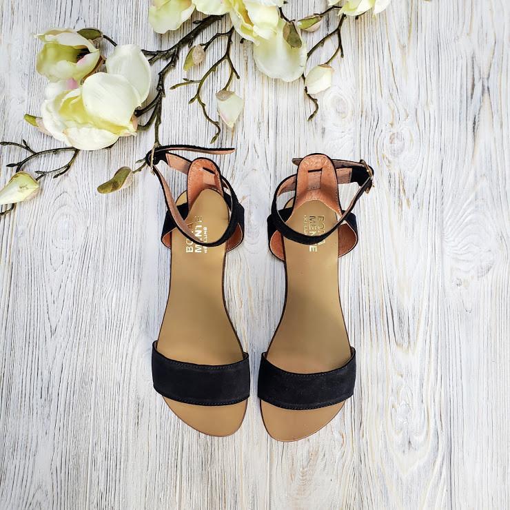 Женские черные замшевые босоножки (сандалии) на низком ходуТМ Bona Mente