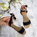 Женские черные замшевые босоножки (сандалии) на низком ходуТМ Bona Mente, фото 2