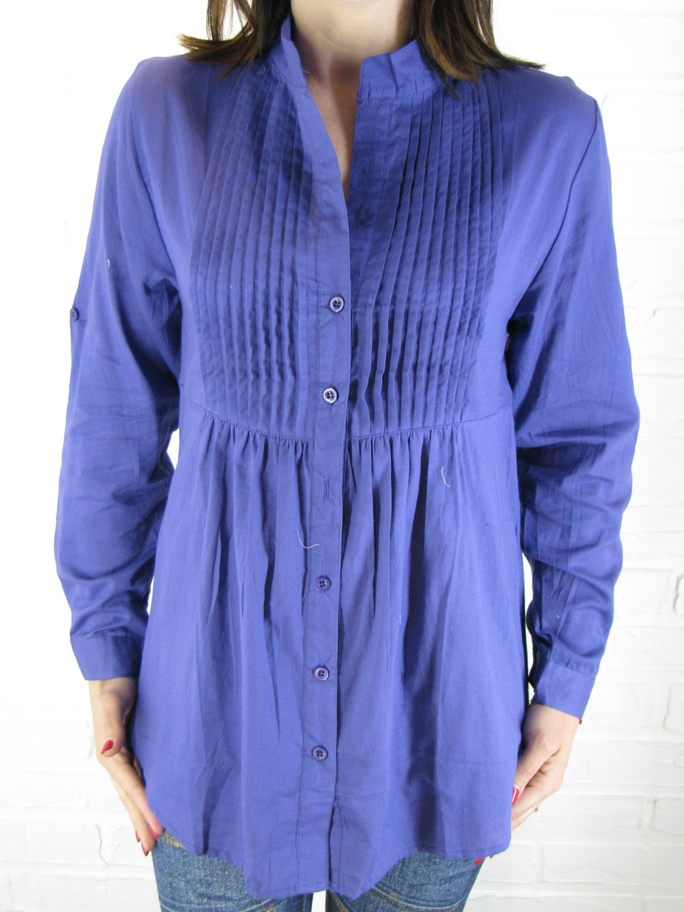 Рубашка женская D 8008 фиолетовая